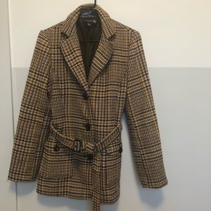 F21 Wool Blend Houndstooth Plaid Coat With Belt